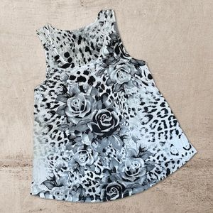 Tops - Tunic top , blouse . Grey black and white floral